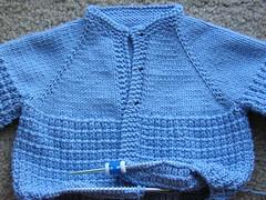 blue sweater in progress