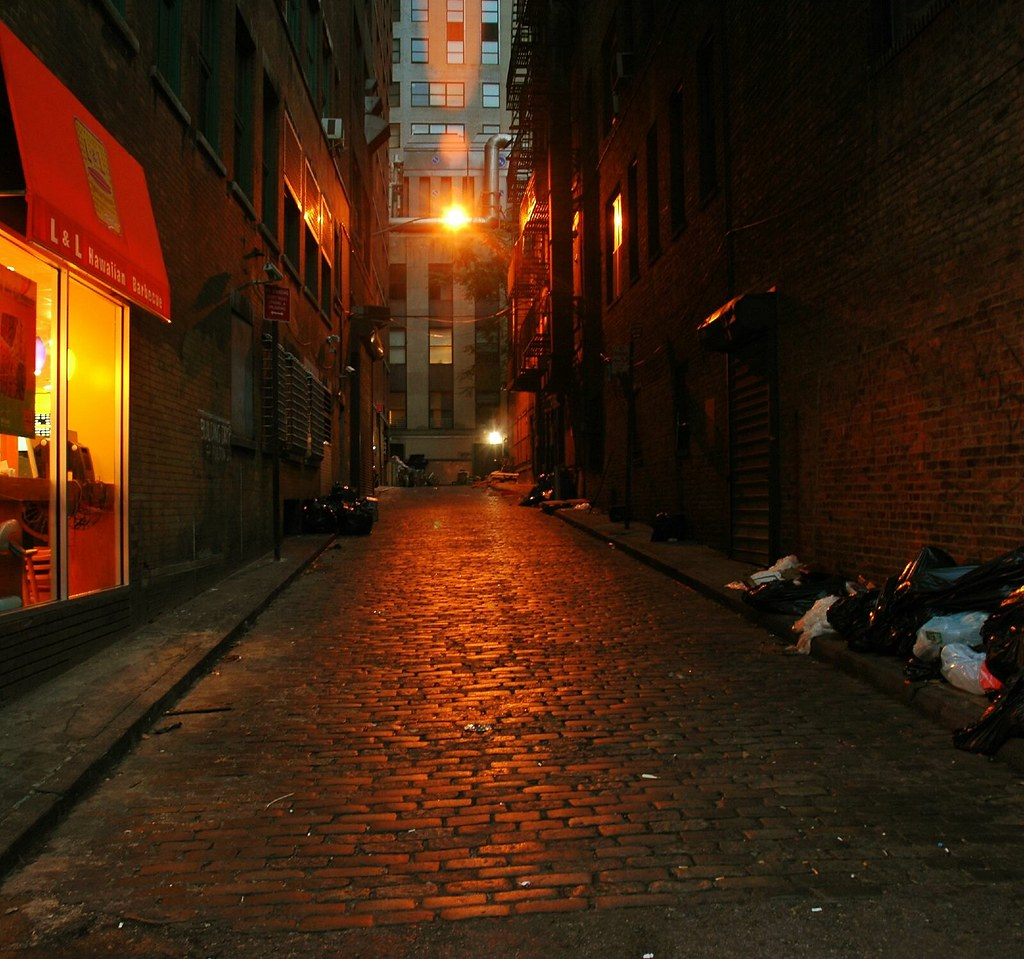 narrow street in lower Manhattan