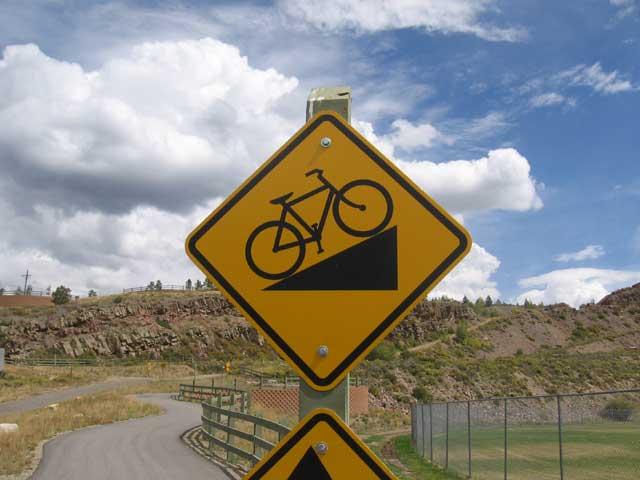 steep bike hill sign