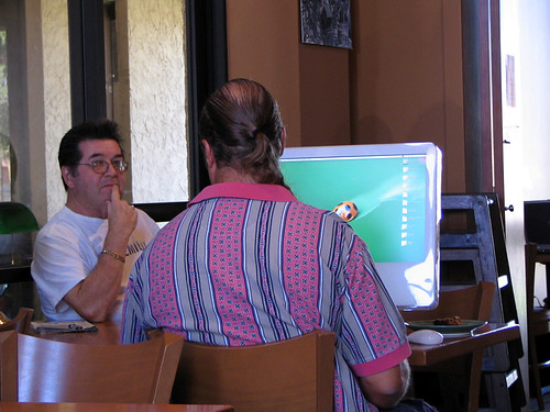 Pretentious Douche Bag with Apple iMac G5 at a Coffee Shop 1038