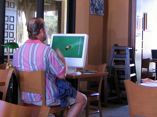 Pretentious Douche Bag with Apple iMac G5 at a Coffee Shop 1039