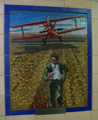 Hitchcock Leytonstone London Underground Mosaics - Plane Chase Scene