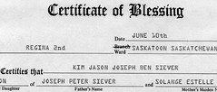 Blessing Certificate