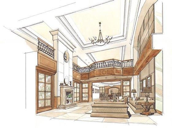 别墅客厅手绘图