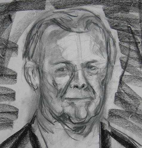 Charcoal of Rumsfeld, 10.24.05