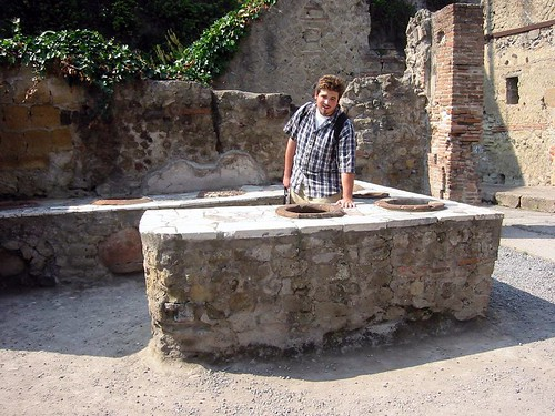 logan at a roman snack bar, herculaneum