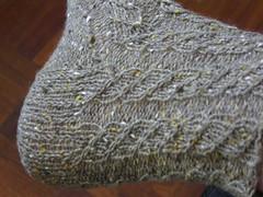 cable twist socks heel view