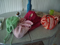 knitted string shopping bags