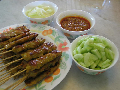 Chicken Satay And Condiments