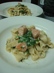 Home made pasta with Salmon & Spinach