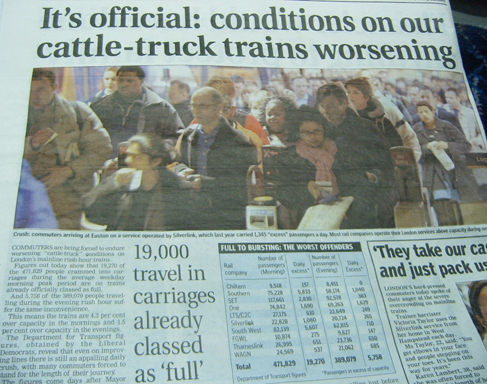 Cattle-truck conditions on London's railways - Evening Standard 21st November