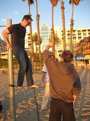 Walking on slack rope in Santa Monica
