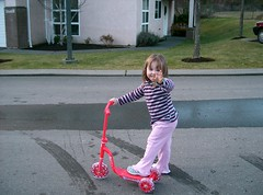 Paige trying out her new scooter