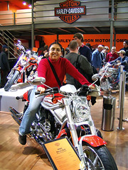 European Autoshow Brussels - Perla on a Harley