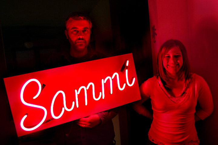 Sam, Sammi and her new sign.