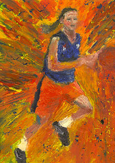 Young female basketball player oil on paper on board photo by christian.rhein
