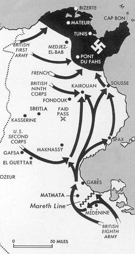 1943- Carte campagne tunisie