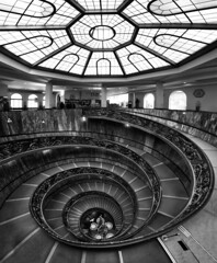 Vatican Museum  Bramante Staircase Vertorama - Rome in Black and White photo by nabilishes [on and off]