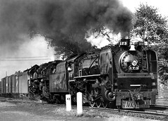 Nickel Plate steam locomotives, Brooks class (L-1a) 4-6-4 Hudson # 173 & LIMA class (S-2) 2-8-4 Berkshire # 758, seen leading a manifest freight train along mainline near milepost # 48 in Ohio, mid 1950's, photographer unknown, Charles Snyder collection photo by alcomike43