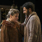Barbara Figgins (Aunt Julia Tesman) and Sean Fortunato (Jorgen Tesman) in HEDDA GABLER at Writers Theatre.  Photo by Michael Brosilow.
