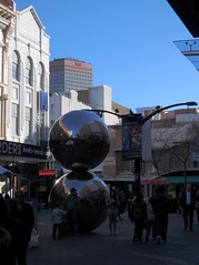 Rundle Mall with balls and demolition site photo by Adriano_of_Adelaide