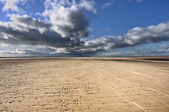 Walking towards a cloud burst! Brancaster beach, Norfolk ( Explored ) photo by Scene by me