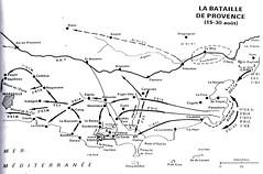 Carte- La Bataille de Toulon - 15 - 30 août- Source  Carnet de route d'André Sébart BM 24