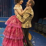 Laura Rook (Clarice) and Michael Perez (Alcippe) in THE LIAR at Writers Theatre. Photo by Michael Brosilow.
