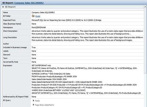 AdventureWorks Company Sales in Metadata Workbench