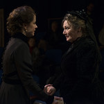 Kate Fry (Hedda) and Barbara Figgins (Aunt Julia Tesman) in HEDDA GABLER at Writers Theatre.  Photo by Michael Brosilow.