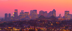 Pink Sunset over Boston Skyline and Tobin Bridge, from Everett over Chelsea MA photo by Greg DuBois Photography