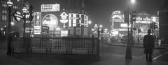 Panorama - London Piccadilly Circus 1958 Night Scene - Kodak Retinette IIb photo by stowupland