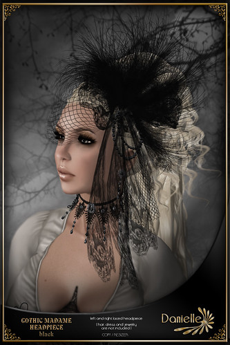 DANIELLE Gothic Madame Headpiece Black