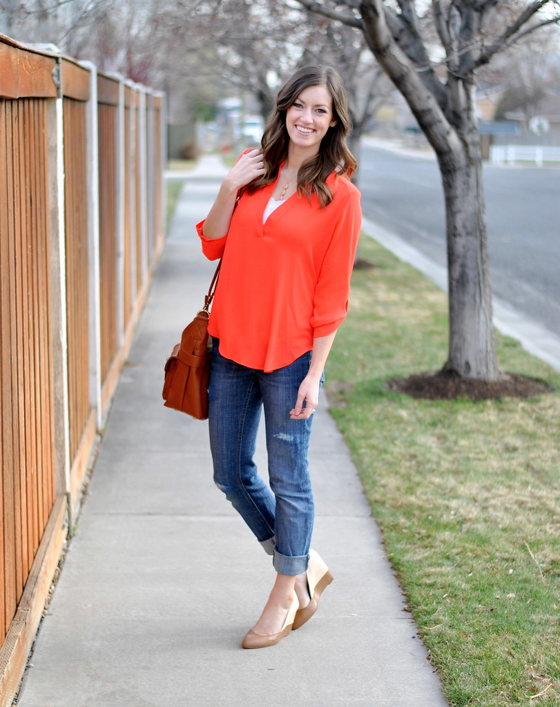bright coral top + distressed jeans + nude wedges + JoTotes bag