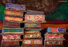 Sacred Buddhist texts photo by Irene Becker