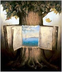 livre ouvert dans un arbre