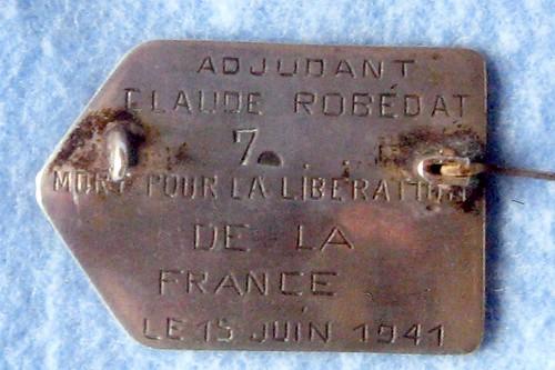 1ère Cie des Chars- insigne de Claude Robédat MPLF 15 juin 1941- col. P. Robedat