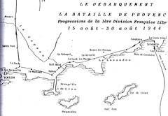 Carte Provence- Progression DFL 15-30 aout 1944- - Source  Carnet de route d'André Sébart BM 24