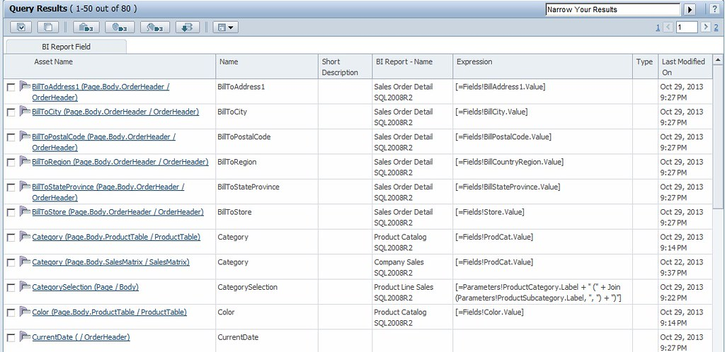 Metadata Workbench BI Column Query