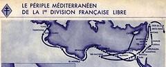 Cartographie  du parcours de la Division Française Libre en Méditerranée