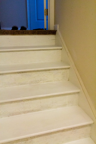 unfinished basement stairs staircase basement floors and stairs used to look just like that we primer first then we glidden porch floor interiorexterior satin latex unfinished unfinished