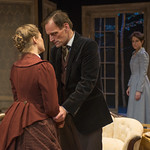Chaon Cross (Thea Elvsted), Mark L. Montgomery (Eilert Lovborg) and Kate Fry (Hedda) in HEDDA GABLER at Writers Theatre.  Photo by Michael Brosilow.