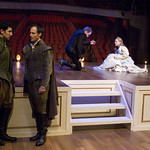 Sean Fortunato, Timothy Edward Kane, John Hoogenakker, and Laura Coover in ROSENCRANTZ AND GUILDENSTERN ARE DEAD at Writers Theatre. Photos by Michael Brosilow.