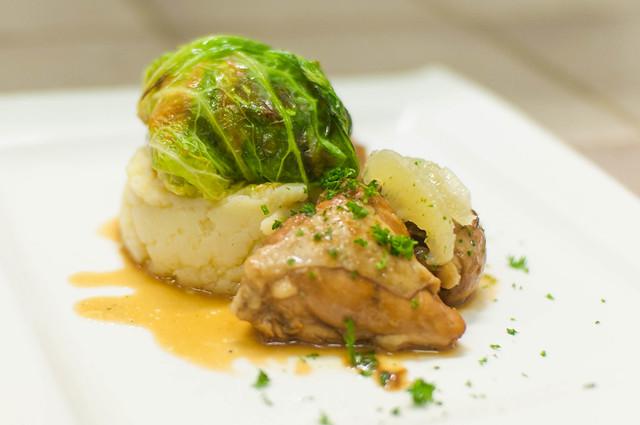 Citroenkip - olijfolie aardappelmousseline - gemarineerde groenten