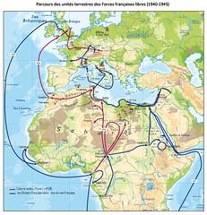 Cartographie générale du parcours de la Division Française Libre et dela 2e DB
