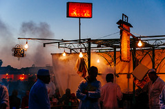 Food stall in Djemaa el Fna square. Marrakech medina, Morocco photo by Яachel caЯbonell
