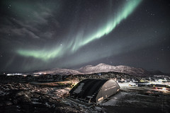 Northern Lights over the Inussivik sports centre in Nuuk photo by greenland_com