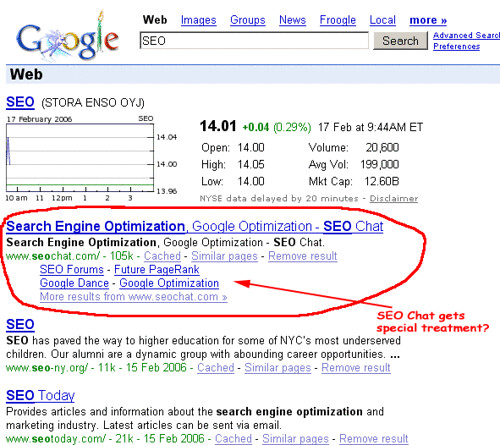 SEO Chat gets special treatment from Google