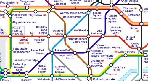 Detail from spoof commercial Tube map