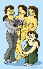 Battlestar Galactica as interpreted by an artist appropriating Matt Groening